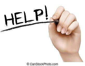 hjälp, hand, vektor, board., skrift, torka, transparent
