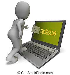 hjälp, kommunikation, laptop, oss, kontakta, helpdesk, visar
