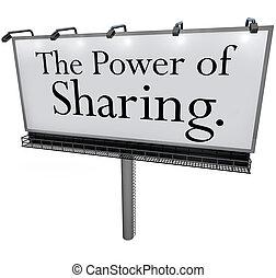 hjälp, makt delande, meddelande, andra, affischtavla, skänka...