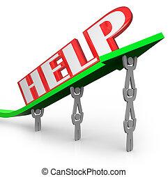 hjälp, ord, på, pil, teamwork, lyftande, tillsammans, till vinn