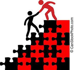 hjälp, person, förena, hitta lösning