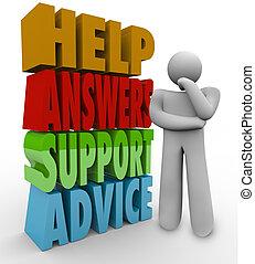 hjälp, tänkande, råd, svar, bredvid, ord, stöd, man