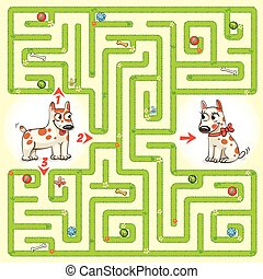 hjälp, tecken, väg, labyrint, finna, ute