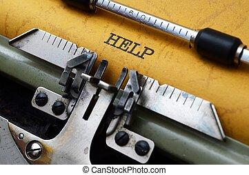 hjälp, text, på, skrivmaskin