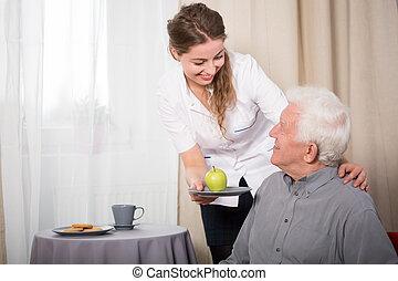 hjälpsam, sköta, och, le, pensionären