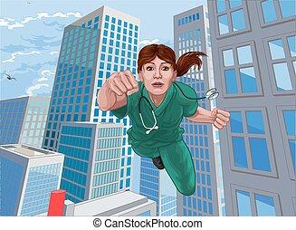 hjälte, superhero, läkare, sköta, toppen, flygning, skura