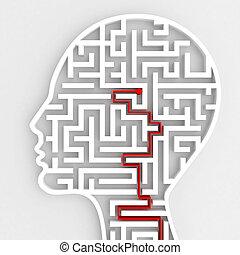 hjärna, anslutning, 3, input., framförande