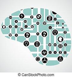 hjärna, app, bord, strömkrets, ikonen