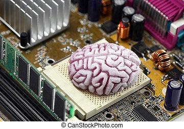 hjärna, avbild, begrepp, handlande, cpu