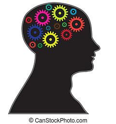 hjärna, bearbeta, information