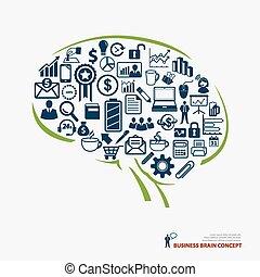 hjärna, begrepp, affär, ikon