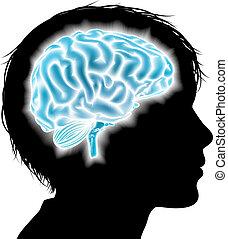 hjärna, begrepp, barn