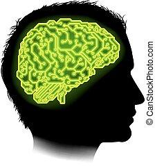 hjärna, begrepp, elektrisk ledningsnät, man