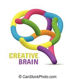 hjärna, begrepp, färgrik, skapande