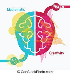 hjärna, begrepp, teckning, illustration, creativity.