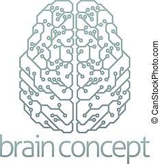 hjärna, dator, design, strömkrets