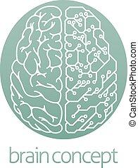 hjärna, elektrisk, bord, strömkrets, halvt