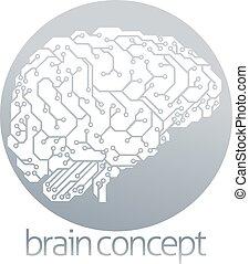 hjärna, elektrisk, bord, strömkrets