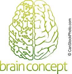 hjärna, elektrisk, design, strömkrets