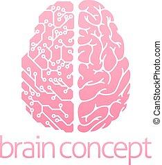 hjärna, elektrisk, mänsklig, strömkrets