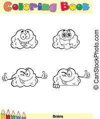 hjärna, färglag beställ, sida