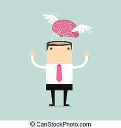 hjärna, flygning, vinge, frihet