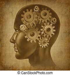 hjärna, funktion, grunge, begrepp