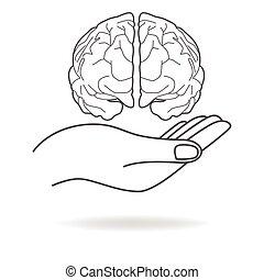 hjärna, holdingen, människa lämna