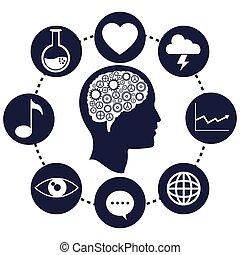 hjärna, huvud, framsteg, utrustar, nätverk