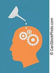 hjärna, huvud, progress., utrustar