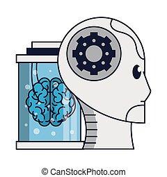 hjärna, huvud, robot