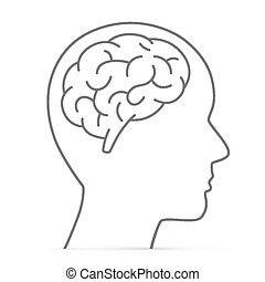 hjärna, huvud, silhuett
