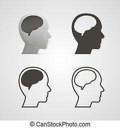 hjärna, huvud, silhuett, set.