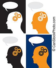 hjärna, huvud, utrustar, framsteg