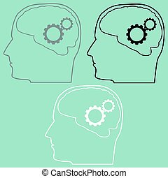 hjärna, huvud, utrustar, icon.