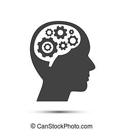 hjärna, huvud, utrustar, object.