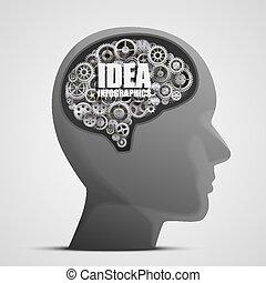 hjärna, huvud, utrustar