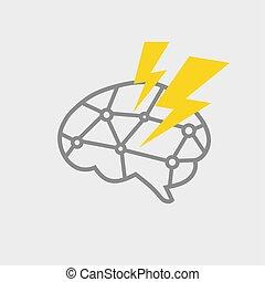 hjärna, icon., driva