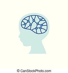 hjärna, icon., forska, barn, begrepp