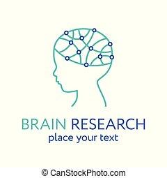 hjärna, icon., forska, huvud, barn, begrepp