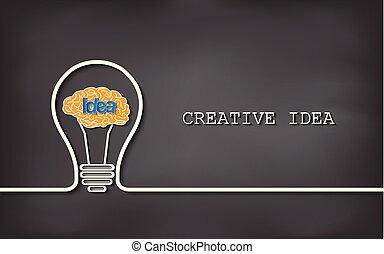hjärna, idé, blackboard, lök, lätt, vektor, skapande, bakgrund., illustration, icon.