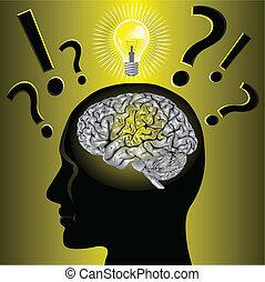 hjärna, idé, och, problemlösning