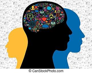 hjärna, in, den, social, media, ikonen