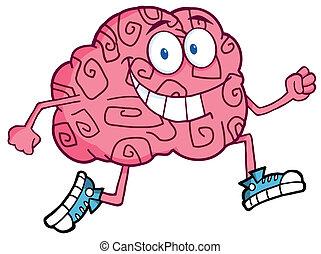 hjärna, joggning, tecken