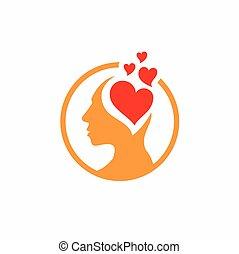 hjärna, kärlek, logo