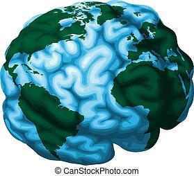 hjärna, klot, illustration, värld