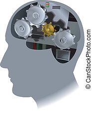 hjärna, kuggar, illustration