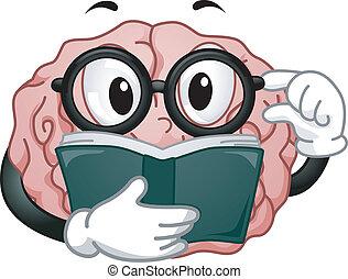 hjärna, läsning, maskot