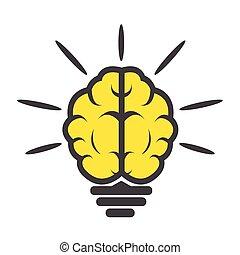 hjärna, ljus kula, ikon