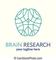 hjärna, logo, fodra, ikon, mänsklig, mall